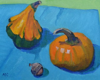 Gourds, still life, oil painting, kitchen art, impressionism, small art, colorful