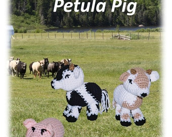 Callie Calf and Petula Pig, Crochet Pattern, Digital Download