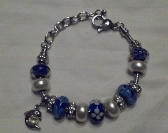 Handmade beaded Dolphin Charm bracelet