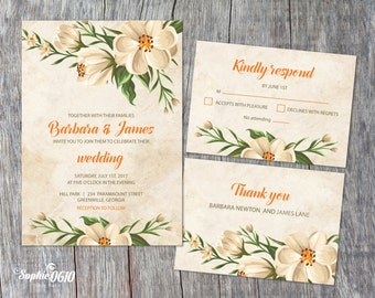 Printable floral vintage ivory wedding invitation, Digital files