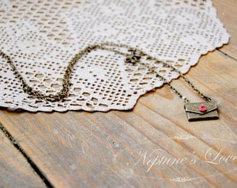 """Envelope Charm Necklace with Hand Sculpted Rose in Pink Polymer Clay, """"Little Love Letter"""""""