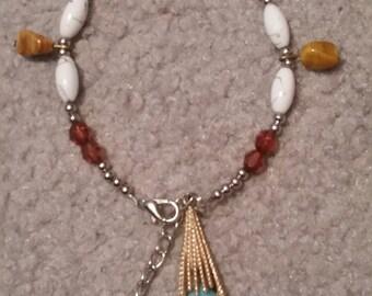 Beaded Bracelet w/ Antique Turquiose Charm