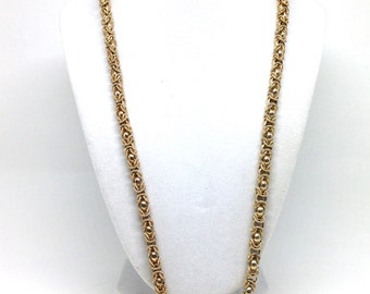Gorgeous Swirl Textured Rope Gold Tone Vintage Estate Necklace