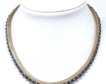 Stunning High End Blue Mesh Rhinestones Silver Tone Vintage Estate Necklace