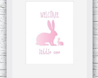 Pink Nursery Print, Bunny Nursery Wall Art, Bunny Print, Bunny Pink Decor, Pink Bunny Art, Bunny Baby Decor, Baby Shower,Spring Nursery Room