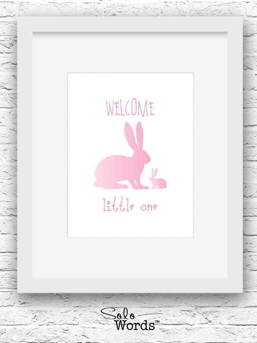 pink nursery print bunny nursery wall art bunny print bunny