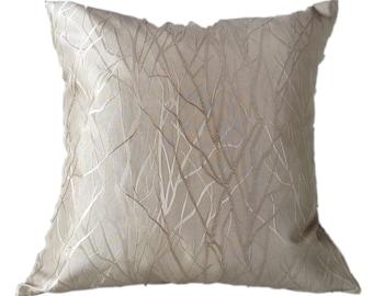 "ELEGANT  ENGRAVED Pattern Light Gold Accent Decor Throw Pillow Case 45cm Cover 40cm Cushion 24"" Square 18"""