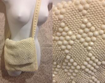 SALE 1960s 70s White Bejewelled Fancy Designer-Esque Purse Handbag