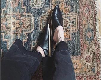 Black Slippers , Leather babouches black, For women- Slippers -handmade .