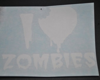 I LOVE ZOMBIES decal for window