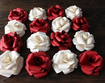White Paper Roses - Set of 4
