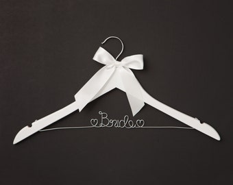 Bride Wedding Dress Hanger, White with Silver, Bridal Gown Hangers, Bride to Be, Bridal Portraits, Dress Photography, Hangers, Wood and Wire
