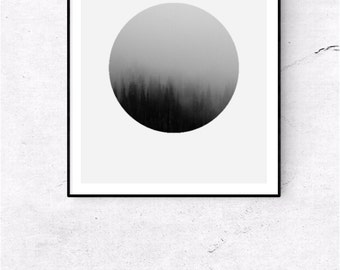 Foggy Forest Print, Forest Photography, Abstract Print, Printable Wall Art, Modern Abstract, Round Foggy Forest,
