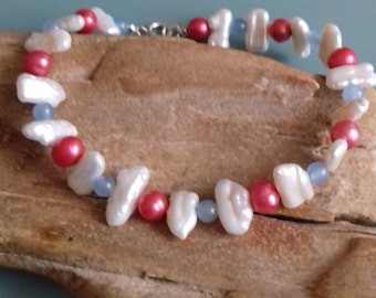 Pearl bracelet blue agate, fuschia pink and white cultured freshwater pearls 925 sterling silver beach boho best friend