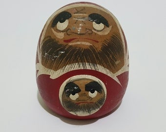 Vintage Wooden Double Goodluck Daruma Doll