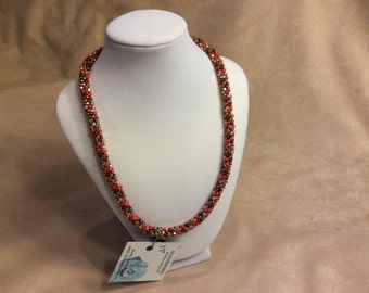 """Kumihimo necklace. Magenta, Pink and Silver 17"""".  Two available"""