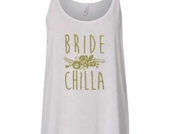 CLEARANCE bridechilla gold glitter flowy/slouchy tank top white bridal shower bachelorette wedding day