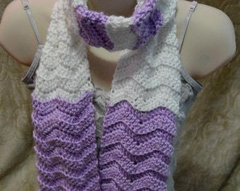 Lilac & White Crochet Scarf. Chevron Scarf. Ready to Ship.