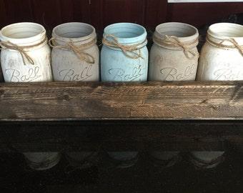 Mason Jar Planter, rustic decor, home decor, centerpiece, stained planters, hostess gift, housewarming gift, mason jars, flower planter