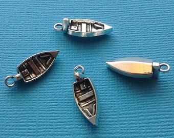 10 pc Boat Charm - Row Boat Charm Silver Rowboat - CS2343