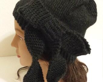 Elegant womans black cloche bow hat