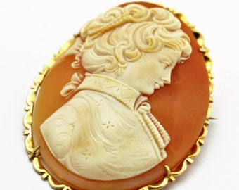 Cameo Pin Pendant 14K Gold Shell Cameo Brooch / Pendant