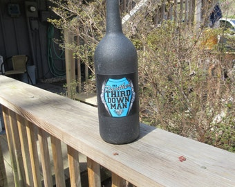 Carolina Panthers Recycled Wine Bottle, Carolina Panthers Wine Bottle, Panthers Third Man Down Bottle, Carolina Panthers Recycled Bottle