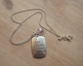 Mother and daughter necklace - purple bead