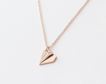 Rose Gold Paper Airplane Necklace, Tiny Charm Necklace, Cute Necklace, Delicate Necklace, Everyday Necklace, Gift for girls, Friends Gift
