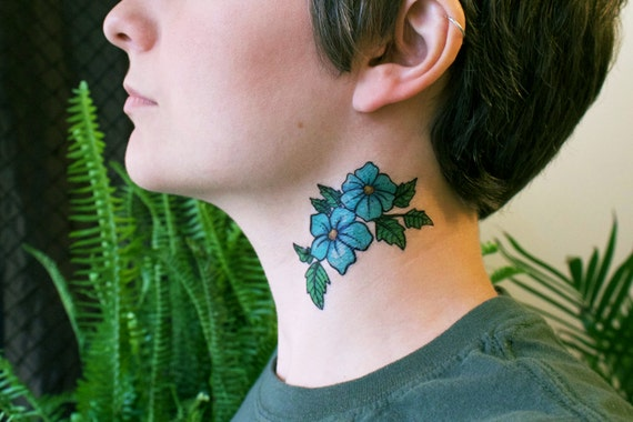 Blue flowers temporary tattoo wild flower tattoos green leaf for Floral temporary tattoos
