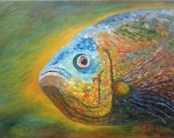 Oscar fish - Original oil painting on canvas