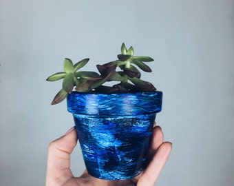 "Blue Streaked Terracotta Pot (Small 3"")"