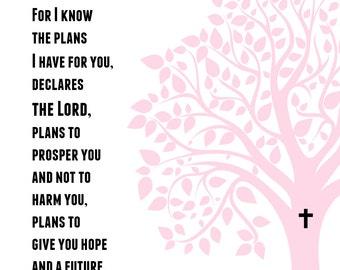 Printable Baby Girl DEDICATION Gift - Personalized - Jeremiah 29:11 Christening Baptism Gift -Tree Scripture