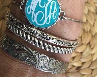 Monogrammed Aqua Pendant Bangle Bracelet