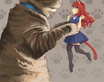 Cat and Catgirl | cat poster, cat print, cat ears, tabby cat, nekomimi, anime poster, anime print, manga poster, anime girl, otaku gift