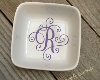 Monogrammed Jewelry Dish, Ring Dish, Personalized Ring Dish, Customized Jewelry Dish, Jewelry Dish, Secret Santa, Jewelry Holder, Christmas