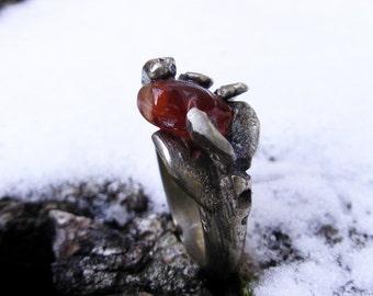 Silver ring cornelian