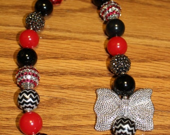 Red and Black Chunky Beaded Necklace