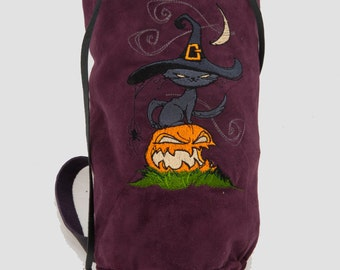 Burgundy purple leather bag Halloween cat embroidery fall fashion drawstring bucket duffle duffel gym pumpkin purse boho shoulder crossbody
