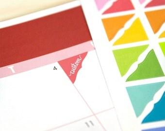 Custom or Blank Corner Planner Stickers, 70 bracket reminder stickers, 2018 ECLP colors, Plum Paper, Happy Planner, rainbow colors, neutral