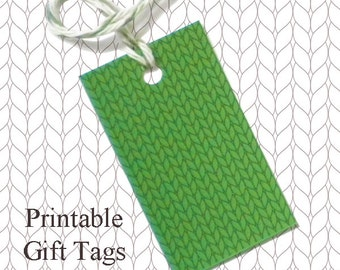 Solid Green Knitted Gift Tags / Printable Knitting Gift Tags / Christmas Gift Tags / Knitter Scrapbook Tags /