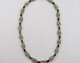 Elegant Garnet and Marcasite Sterling Silver Necklace