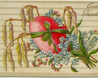 Easter Greetings Forget-me-Nots Catkins & Easter Egg EMBOSSED POSTCARD Antique Post Card