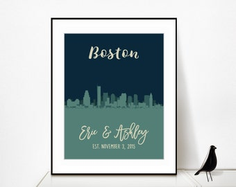 Boston Skyline Print, Skyline of Boston, Boston Cityscape Unique Valentines Gifts for Her Birthday Christmas Skyline Poster Art Personalized