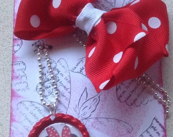 Minnie Mouse Bottle Cap Necklace and Pinwheel Bow