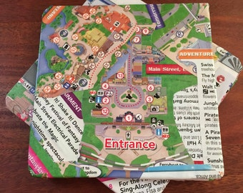Wooden Coasters (Set of 4) - Walt Disney World Park Maps