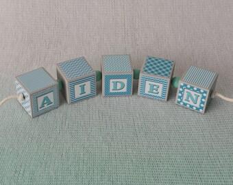 Baby Name Blocks - Nursery Name Blocks - Boys Name Blocks - Baby Shower Gift, Teal, Aqua and Gray name blocks