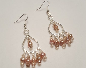 Pearl and Crystal Chandelier Earrings