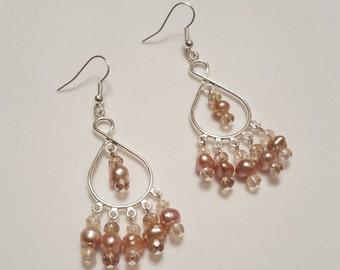 Pearl and Crystal Chandelier Earrings