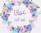 Watercolor Lilac Clip Art - Clipart - Digital - Wreath